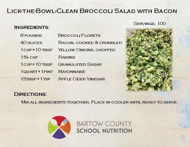 Broccoli Salad Recipe 100 servings